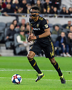 LAFC midfielder Mark-Anthony Kaye (14) during a MLS soccer match against the Sporting KC in Los Angeles, Sunday, March 3, 2019. LAFC defeated Sporting KC, 2-1. (Ed Ruvalcaba/Image of Sport)