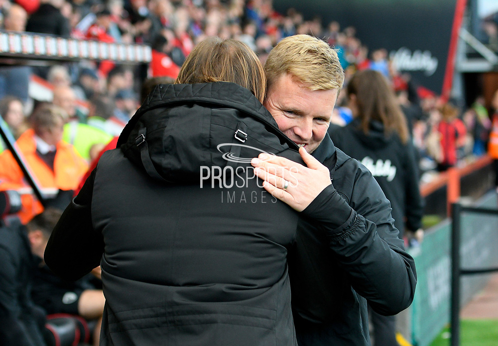 AFC Bournemouth manager Eddie Howe hugs Norwich City manager Daniel Farke ahead of the Premier League match between Bournemouth and Norwich City at the Vitality Stadium, Bournemouth, England on 19 October 2019.