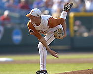 Texas starting pitchers Kyle McCulloch pitched seven shut out innings for the win over the Tulane Green Wave.  Texas defeated Tulane 5-0 in the second round of the College World Series at Rosenblatt Stadium in Omaha, Nebraska on June 20, 2005.