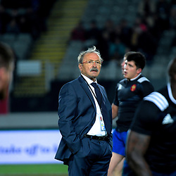 France head coach Jacques Brunel during the Steinlager Series international rugby match between teh New Zealand All Blacks and France at Eden Park in Auckland, New Zealand on Saturday, 9 June 2018. Photo: Dave Lintott / lintottphoto.co.nz