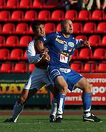 05.08.2006, Ratina, Tampere, Finland..Veikkausliiga 2006 - Finnish League 2006.Tampere United - Myllykosken Pallo-47.Ville Lehtinen (TamU) v Hugo Miranda (MyPa).©Juha Tamminen.....ARK:k