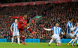 LIVERPOOL, ENGLAND - Saturday, October 28, 2017: Liverpool's Georginio Wijnaldum scores the third goal during the FA Premier League match between Liverpool and Huddersfield Town at Anfield. (Pic by David Rawcliffe/Propaganda)
