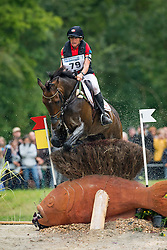 Karin Donckers, (BEL), Fletcha van t Verahof - Eventing Cross Country test- Alltech FEI World Equestrian Games™ 2014 - Normandy, France.<br /> © Hippo Foto Team - Dirk Caremans<br /> 30/08/14