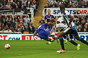 Newcastle United Jack Colbacks challenge on Chelsea FC Loic Remy during the Barclays Premier League match between Newcastle United and Chelsea at St. James's Park, Newcastle, England on 26 September 2015. Photo by Craig McAllister.