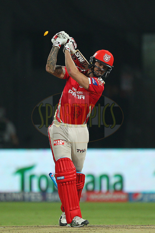 Mitchell Johnson of Kings XI Punjab is bowled by Mitchell Starc of the Royal Challengers Bangalore  during match 40 of the Pepsi IPL 2015 (Indian Premier League) between The Royal Challengers Bangalore and The Kings XI Punjab held at the M. Chinnaswamy Stadium in Bengaluru, India on the 6th May 2015.<br /> <br /> Photo by:  Ron Gaunt / SPORTZPICS / IPL