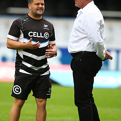DURBAN, SOUTH AFRICA - MAY 07: Omar Mouneimne (Defence coach) of the Cell C Sharks with Gary Gold (Sharks Director of Rugby)  during the Super Rugby match between Cell C Sharks and Hurricanes at Growthpoint Kings Park on May 07, 2016 in Durban, South Africa. (Photo by Steve Haag /Gallo Images)