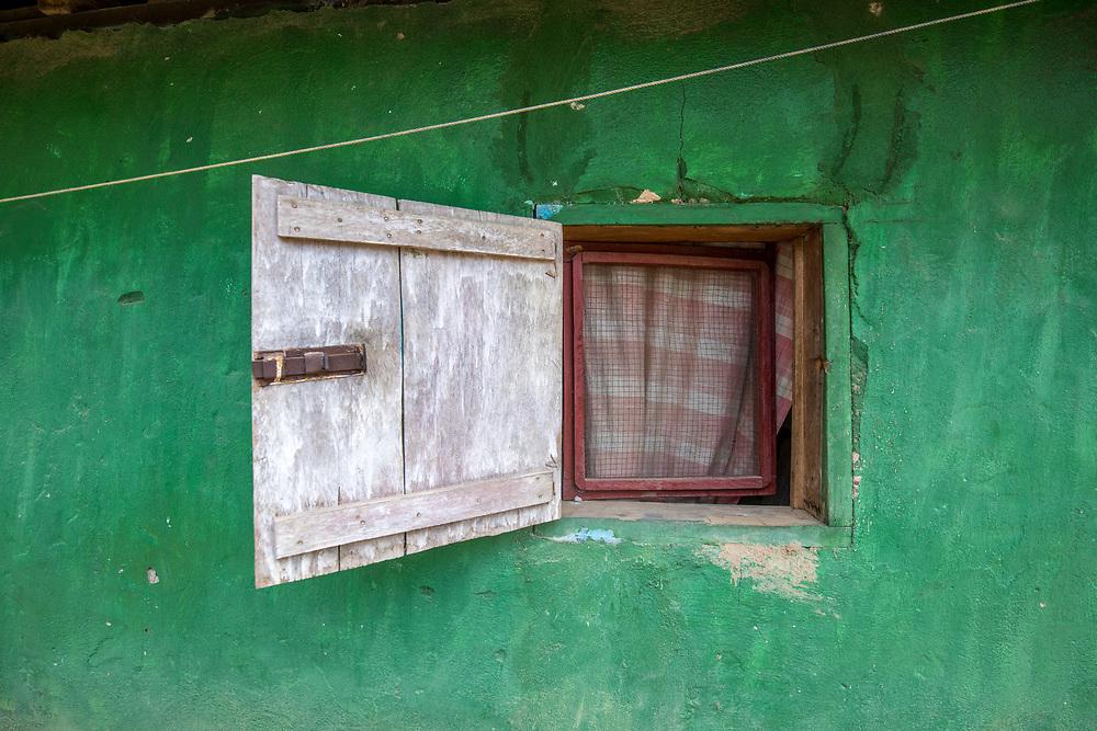 A window sits open in Ganta, Liberia