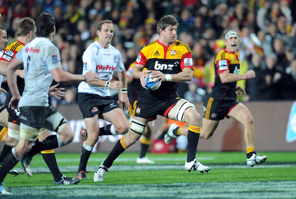 Chiefs Micheal Fitzgerald makes a break against the Sharks in the Super 15 Rugby final match, Waikato Stadium, New Zealand, Saturday, August 04, 2012. Credit:SNPA / Ross Setford