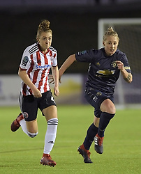 February 20, 2019 - Sheffield, United Kingdom - Sheffield Uniteds Jade Pennock and Manchester Uniteds Leah Galton both sprint for the same ball during the  FA Women's Championship football match between Sheffield United Women and Manchester United Women at the Olympic Legacy Stadium, on February 20th Sheffield, England. (Credit Image: © Action Foto Sport/NurPhoto via ZUMA Press)