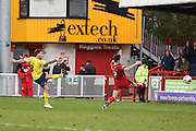 Oxford forward Chris Maguire scores a goal to make it 1-1 during the Sky Bet League 2 match between Crawley Town and Oxford United at the Checkatrade.com Stadium, Crawley, England on 9 April 2016. Photo by David Charbit.