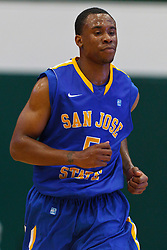 Nov 16, 2011; San Francisco CA, USA;  San Jose State Spartans guard Calvin Douglas (5) runs up court against the San Francisco Dons during the second half at War Memorial Gym.  San Francisco defeated San Jose State 83-81 in overtime. Mandatory Credit: Jason O. Watson-US PRESSWIRE