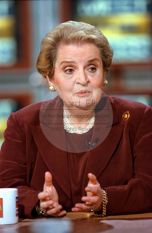Secretary of State Madeleine Albright discusses the situation in Kosovo during NBC's ''Meet the Press'' April 4, 1999 in Washington, DC.