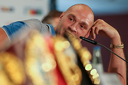 21.07.2015, Esprit Arena, Düsseldorf, GER, WBA Boxkampf, Wladimir Klitschko vs Tyson Fury, Pressekonferenz, im Bild Tyson Fury mit Guerteln im Vordergrund // during a pressconference of the WBA fight between Wladimir Klitschko and Tyson Fury at Esprit Arena in Düsseldorf, Germany on 2015/07/21. EXPA Pictures © 2015, PhotoCredit: EXPA/ Eibner-Pressefoto/ Schüler<br /> <br /> *****ATTENTION - OUT of GER*****