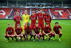ST HELENS, ENGLAND - Wednesday, October 24, 2018: Liverpool's players players line-up for a team group photograph before the UEFA Youth League Group C match between Liverpool FC and FK Crvena zvezda at Langtree Park. Back row L-R: Paul Glatzel, goalkeeper Vitezslav Jaros, Leighton Clarkson, Rhys Williams, Rafael Camacho. Front row L-R: Jake Cain, Tom Clayton, Bobby Adekanye, captain Adam Lewis, Neco Williams, Curtis Jones. (Pic by David Rawcliffe/Propaganda)