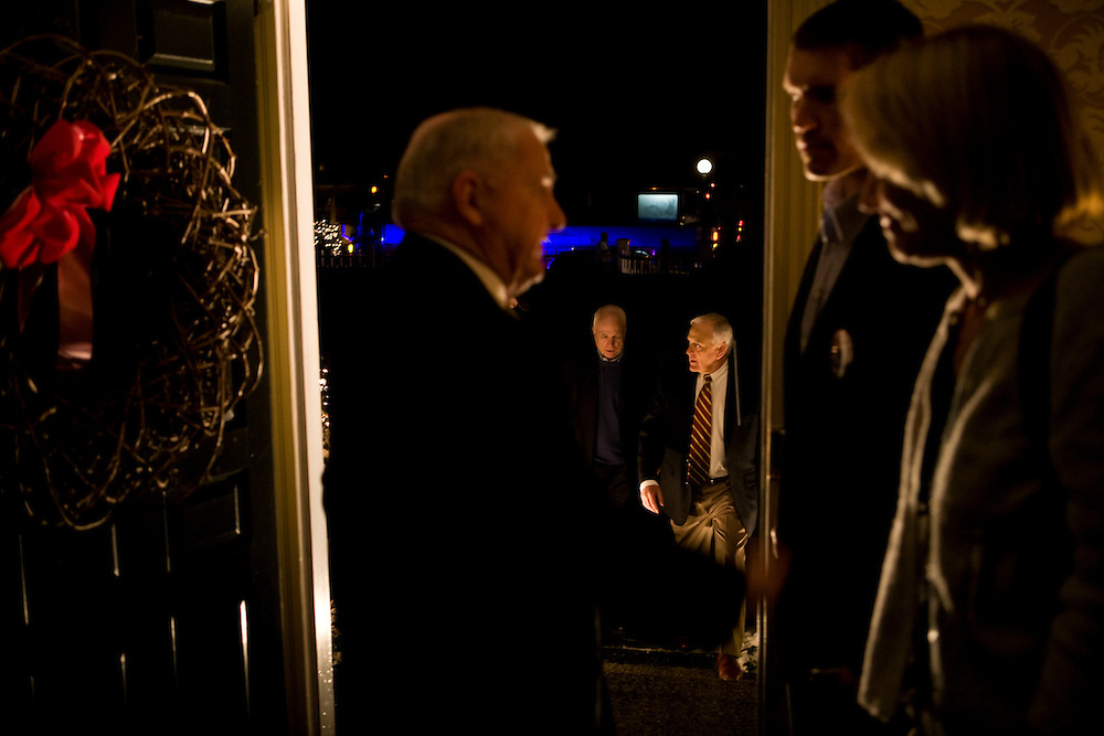 Sen. John McCain (R-AZ) arrives for a campaign house party in Rye, NH, on Monday, Dec. 31, 2007.