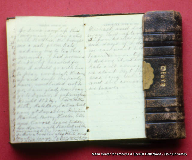 picture of Boyd's  handwritten diary, not in book, ownership and provenance unknown. Image from CDs of images files scanned by OU press for Ohio University The Spirit of a Singular Place 1804-2004, Betty Hollow, and given to University Archives.