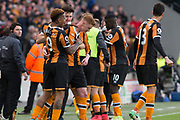 Goal Hull City Forward Abel Hernandez (9) celebrates with Hull City Midfielder Sam Clucas (11) 2-0  during the Premier League match between Hull City and Watford at the KCOM Stadium, Kingston upon Hull, England on 22 April 2017. Photo by Craig Zadoroznyj.
