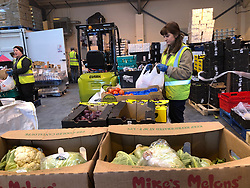 Distribution warehouse of the charity The Bread and Butter Thing, where staff are helping organise deliveries of food to the most vulnerable in Manchester.