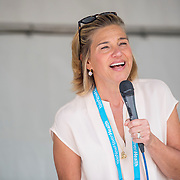 August 19, 2016, New Haven, Connecticut: <br /> Tournament Director Anne Worcester speaks at the draw ceremony during the 2016 Connecticut Open at the Yale University Tennis Center on Friday, August 19, 2016 in New Haven, Connecticut. <br /> (Photo by Billie Weiss/Connecticut Open)