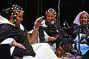 "Fadimata Walett Oumar and her Tuareg female group ""Tartit"", from Mali playing at the ""III Rencontre Internationale d'Imzad"" in Tamanrasset, Algeria."