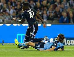 October 7, 2017 - Melbourne, Victoria, Australia - Joshua Brillante (#6) of Sydney FC  brings down Leroy George (#41) of Melbourne Victory during the round 1 match between Melbourne Victory and Sydney FC at Etihad Stadium in Melbourne, Australia during the 2017/2018 Australian A-League season. (Credit Image: © Theo Karanikos via ZUMA Wire)