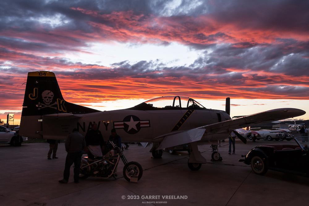 T-28 Trojan at sunset, Planes and Cars at the Santa Fe Airport, 2013 Santa Fe Concorso.