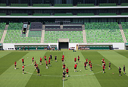 BUDAPEST, HUNGARY - Monday, June 10, 2019: Wales players during a training session ahead of the UEFA Euro 2020 Qualifying Group E match between Hungary and Wales at the Ferencváros Stadion. (Pic by David Rawcliffe/Propaganda)