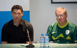 Sailor Vasilij Zbogar of Slovenia and his coach Trevor Millar of Ireland at press conference on May 19, 2010, in Marina Izola / Marina di Isola, Slovenia. (Photo by Vid Ponikvar / Sportida)