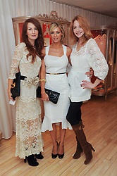 Left to right, ANGELA DUNN, TESS DALY and Orla O'Rourke at a private dinner for the White Ribbon Alliance's Global Dinner Party Campaign, at Agua, Sanderson Hotel, Berners Street, London on 4th March 2010.