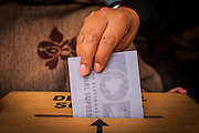 Woman cast her vote during Election Day in central La Paz. On Sunday, 12th October, President Evo Morales was re-elected for a third term by a majority of 60% and will turn into the longest serving President of the country if he finishes is mandate in 2020.