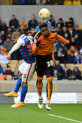 Wolverhampton Wanderers defender Kortney Hause heads the ball away during the Sky Bet Championship match between Wolverhampton Wanderers and Blackburn Rovers at Molineux, Wolverhampton, England on 9 April 2016. Photo by Alan Franklin.