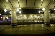 Platform lights, Liverpool Street railway station, London, England