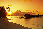 Bora Bora Lagoon Resort at sunset, Bora Bora, French Polynesia<br />