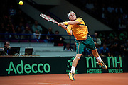 Lleyton Hewitt from Australia competes during the BNP Paribas Davis Cup 2013 between Poland and Australia at Torwar Hall in Warsaw on September 13, 2013.<br /> <br /> Poland, Warsaw, September 13, 2013<br /> <br /> Picture also available in RAW (NEF) or TIFF format on special request.<br /> <br /> For editorial use only. Any commercial or promotional use requires permission.<br /> <br /> Photo by &copy; Adam Nurkiewicz / Mediasport