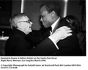 Dominick Dunne & Sidney Poitier at the Vanity Fair Oscar Night Party. Mortons. Los Angeles.March 1996.<br />© Copyright Photograph by Dafydd Jones<br />66 Stockwell Park Rd. London SW9 0DA<br />Tel 0171 733 0108