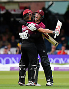 Somerset Win - James Hildreth of Somerset and George Bartlett of Somerset celebrate scoring the winning runs to win the Royal London 1 Day Cup Final match between Somerset County Cricket Club and Hampshire County Cricket Club at Lord's Cricket Ground, St John's Wood, United Kingdom on 25 May 2019.