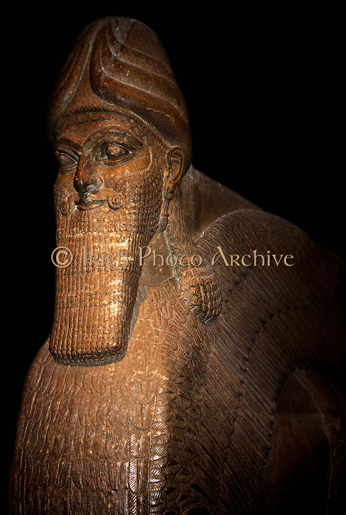 Winged human-headed bull statue known as a Lamassu or 'Protective spirit'. Assyrian, (circa 865-860 BC) from Nimrud. Assumed to have guarded the King's private apartments.