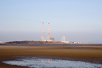 Sandymount Strand towards Ringsend power station in Dublin Ireland