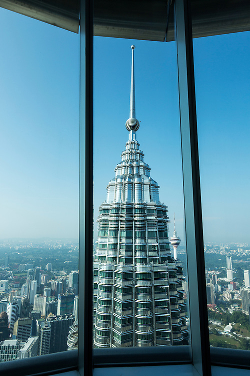 Asia, Malaysia, Kuala Lumpur, View from 86th Floor Observation Deck of top of Petronas Towers