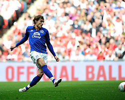 Nikica Jelavic of Everton scores the opening goal during the Budweiser FA Cup semi final match between Liverpool and Everton at Wembley on Saturday 14 April 2012 (Photo by Rob Munro)