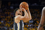 April 30, 2019; Oakland, CA, USA; Golden State Warriors guard Stephen Curry (30) shoots the basketball against the Houston Rockets during the fourth quarter in game two of the second round of the 2019 NBA Playoffs at Oracle Arena. The Warriors defeated the Rockets 115-109.