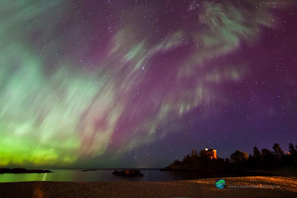 Auroras overhead, Marquette Lighthouse