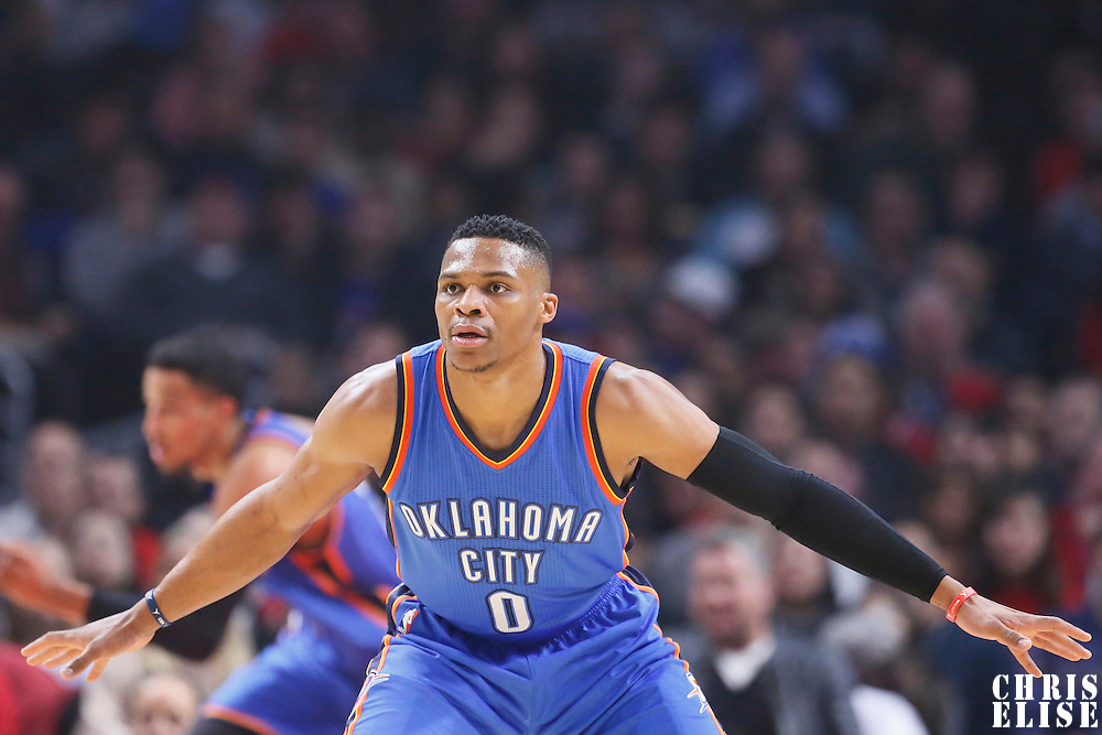 21 December 2015: Oklahoma City Thunder guard Russell Westbrook (0) is seen on defense during the Oklahoma City Thunder 100-99 victory over the Los Angeles Clippers, at the Staples Center, Los Angeles, California, USA.