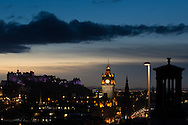 Sunset from Calton Hill looking over Edinburgh Castle and the rest of the capital city skyline on the 5th November 2014<br /> <br /> Photograph by Alex Hewitt<br /> alex.hewitt@gmail.com<br /> 07789 871540
