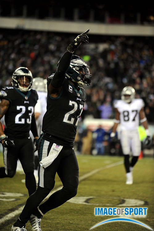 Dec 25, 2017; Philadelphia, PA, USA; Philadelphia Eagles safety Malcolm Jenkins (27) during a NFL football game at Lincoln Financial Field. The Eagles defeated the Raiders 19-10. Photo by Reuben Canales