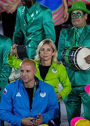 05-08-2016 BRA: Olympic Games day -1, Rio de Janeiro<br /> Openingsceremonie van de Olympische Spelen in Rio / dans, muziek, show en eenboodschap aan de wereld - Slovenie Slovenia / Gorazd Skof, Nada Rotovnik Kozjek of Slovenia