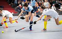 HAMBURG  (Ger) - 06  LMHC Laren v Club Campo de Madrid (Esp) (6-4)   foto: Maxime Kerstholt (Laren) with Maria Lopez Garcia (Madrid)     Eurohockey Indoor  Club Cup 2019 Women . WORLDSPORTPICS COPYRIGHT  KOEN SUYK