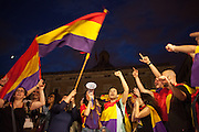 Catalan youngsters claim a referendum on republic in front of the city council of Barcelona after the abdication of King Juan Carlos I. / More than 5 thousands of people in Barcelona city took the Catalonia Square on Monday evening to demand a referendum on monarchy or republic, after King Juan Carlos announced his plans to abdicate and hand over power to his son Felipe. In Catalonia many people see the king as part of Spain's problems of the economic crisis. As the political analysts have linked the abdication to the issue of Catalonia's Independence, people on Barcelona's streets have claimed the independence supported by some political parties as CUP, ERC, ICV and others. 2th June 2014. Barcelona city center. Eva Parey/4SEE.