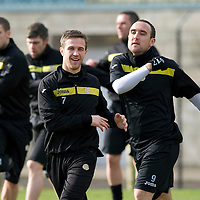 St Johnstone Training.....02.03.12<br /> Chris Millar and Lee Croft pictured during training this morning..<br /> Picture by Graeme Hart.<br /> Copyright Perthshire Picture Agency<br /> Tel: 01738 623350  Mobile: 07990 594431