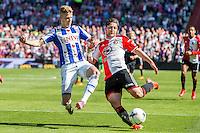 ROTTERDAM - Feyenoord - SC Heerenveen , Stadiond de Kuip , Voetbal , Eredivisie Play-offs Europees voetbal, seizoen 2014/2105 , 24-05-2015 , Feyenoord speler Anass Achahbar (r) in duel met SC Heerenveen speler Joost van Aken (l)